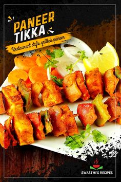 Paneer tikka recipe – Indian cottage cheese marinated in a spicy and super flavorful tandoori masala & grilled to perfection! These skewers of soft paneer, with a burst of tandoori flavors are as addictive as they are in any Indian restaurants. Indian Appetizers, Indian Snacks, Best Appetizers, Indian Food Recipes, Grilled Paneer, Quick Dinner Recipes, Snack Recipes, Healthy Recipes, Tikka Recipe