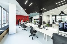 DDB Office by B² Architecture - Office Snapshots Office Pods, Open Space Office, Workplace Design, Creative Storage, Architecture Office, Lounge Areas, Office Interiors, Wall Design, Prague