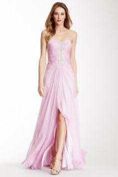 La Femme Embellished Vertical Band Strapless Dress
