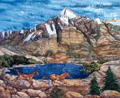 Fabric Art Colorado Landscape Mountain Painting Spirit of the West II