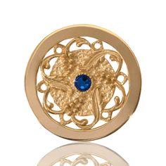 Yellow Gold with Blue Swarovski Crystal