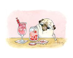 Shirley Temple, Leave the Cherries - 5x7, 8x10 Pug Art Print, Cute Kitchen Art, Cocktail or Bar Art with Pugs and Cherries by Inkpug