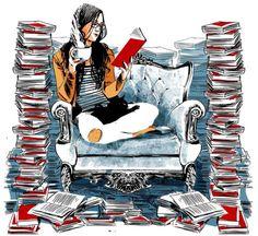 bibliolectors:  Vaya lectora-devoradora de libros! (ilustración de Oriol Malet)