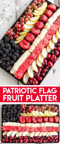 This Patriotic Flag Fruit Platter is a healthy and easy 10 minute recipe that is perfect for an appetizer, snack or dessert at your 4th of July or Memorial Day holiday party for a fun red, white and blue dish! #Patriotic #RedWhiteBlue #MemorialDay #4thofJuly Memorial Day Desserts, Memorial Day Foods, Blue Desserts, 4th Of July Desserts, Fourth Of July Food, July 4th, Quick Healthy Meals, Healthy Eating Recipes, Appetizer Recipes
