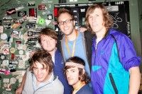 BMI's David Claassen (center) joins Modern Skirts backstage at the BMI-Sponsored CMJ Showcase at Crash Mansion.