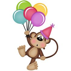 Silhouette Design Store - View Design #149402: birthday monkey girl holding balloons