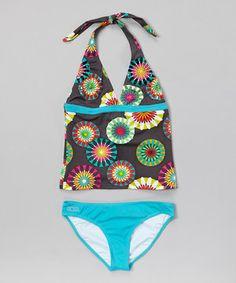 This Turquoise Pinwheel Tankini - Girls by Azul Swimwear is perfect! #zulilyfinds