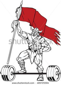Illustration of a norseman viking warrior raider barbarian with beard wearing horned helmet stepping on barbell waving red flag viewed from front set on isolated white background done in retro style.  #berserker #retro #illustration
