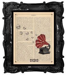 Dictionary Art Print Victorian Gramophone Vintage by BlackBaroque, $10.00