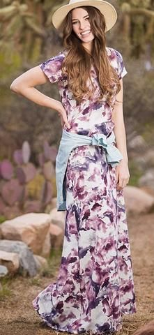 Jamie Maxi Dress  This great watercolor print dress in wine & grey adds perfect subtle color for Fall. This dress is comfortable and is perfect for all shapes and sizes. Exposed zipper on back. Elastic gathered elbow length sleeves.   Modest dress,  maxi dress,  modest fashion,  fall fashion,