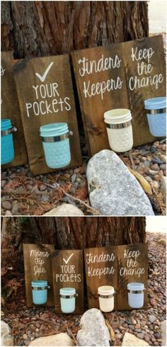 Laundry Room Coin Keepers - 30 Mind Blowing DIY Mason Jar Organizers You'll Want To Make Right Away (diy decorations mason jars) Mason Jar Projects, Mason Jar Crafts, Mason Jar Diy, Mason Jar Tumbler, Mason Jar Bathroom, Mason Jar Shelf, Mason Jar Kitchen, Diy Hanging Shelves, Floating Shelves Diy