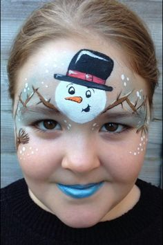 Snowman Christmas face paint. Just in time for the holidays!