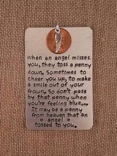 Hand Stamped Memorial Ornament- Angel Pennies- Pennies From Heaven- Dimes from Heaven- In Memory- Loss- Sympathy Gifts- Grief Gifts- Angel Memorial Ornaments, Memorial Gifts, Memorial Ideas, Memorial Jewelry, Craft Gifts, Diy Gifts, Unique Gifts, Heaven Poems, Heaven Quotes