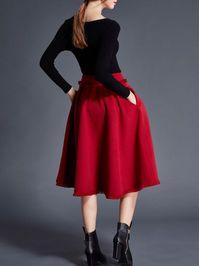Pockets Wool blend Midi Skirt