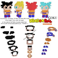 3D Hama Beads Perler Artkal free pattern Goku from Dragonball