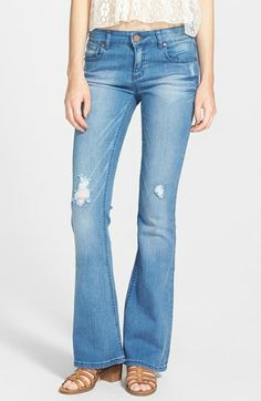 Fire Destroyed Flared Jeans (Medium) (Juniors) available at #Nordstrom