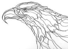 wire art sculptor Elizabeth Berrien bald eagle and trout fish wire sculpture.