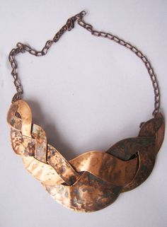 Copper necklace / braided necklace / hammered  patina-ted  copper necklace. $75.00, via Etsy.