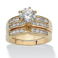 Palm Beach Jewelry PalmBeach 2.89 TCW 2 Piece Round Cubic Zirconia Bridal Ring Set in Gold Tone Classic CZ