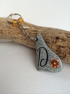 Handpainted Welsh Pebble Stone keyring or bag charm personalised Letter D £4.00