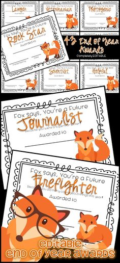 FORTY THREE Colorful EDITABLE awards for the End of School. If your students love What Does the Fox Say... then they will love these awards!!  These awards are completely EDITABLE!! Just click on the text and edit it to your students' names. $