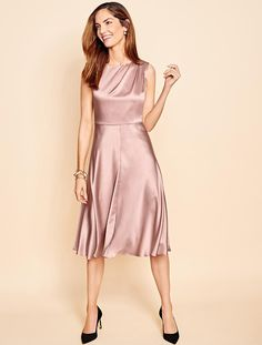 Elegant yet understated, swing in our pink silk dress.