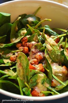 Gormandize: Spicy Chickpea Salad with Olive Hummus Dressing