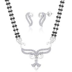 "Viyari Rhodium Plated Cubic Zirconia """"Aanya"""" Holy Thread Indian Mangalsutra 16 Inch Necklace and Earrings Jewelry Set"