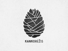 A Cone, Typography, Mark, Pine Cone, Graphic Design, Logo, Black and White
