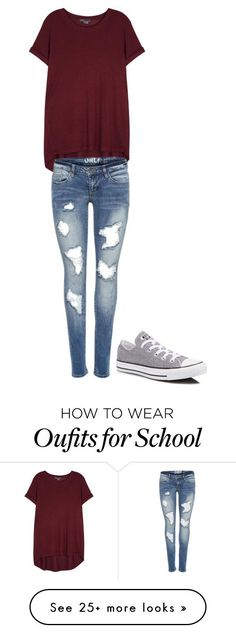 """School everyday"" by e-cooprider on Polyvore featuring Vince and Converse"
