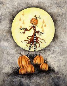 Pumpkin Magick fall autumn Halloween 8X10 PRINT by Amy Brown