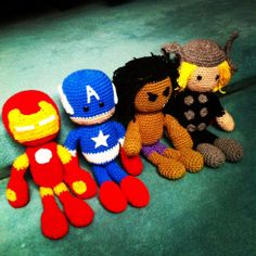 Crochet Ironman, Thor, Cpt America and Hulk. No pattern but could use as a guide to make my own! :)