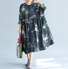 Women Loose fitting Long Autumn dress/ Long Maxi Dress/ by MaLieb