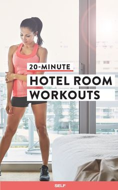If you want to squeeze in a workout while on the road, these routines are designed to done in small spaces and with minimal equipment. Even better? You'll be done in 20 minutes or less.