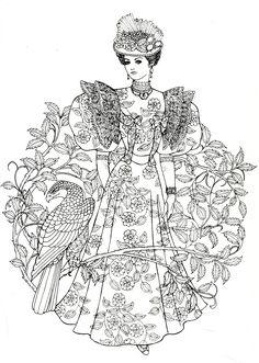 Art Nouveau Fashions for coloring