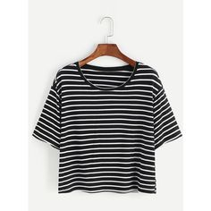 Black And White Striped Crop T-shirt (19 BRL) ❤ liked on Polyvore featuring tops, t-shirts, black and white, striped sleeve t shirt, cropped tops, cotton t shirts, striped tee and summer t shirts