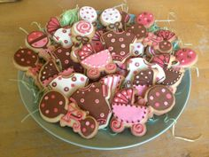 PInk and brown baby shower cookies from All Whipped Up!
