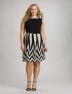 Plus Size Belted Chevron Dress | Dressbarn