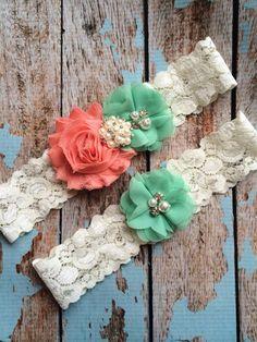Coral flower / Mint chiffon / wedding garter set / bridal garter/ lace garter / toss garter included / wedding garter