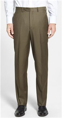 Santorelli - Luxury Serge Flat Front Wool Trousers  An olive pair of dress  pants is a great alternative to our basic charcoal and navy pants – and  just as ... 6d9315fe45a5