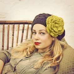 Wish I'd look this good in this cute hat. Chartreuse Crocheted Flower Pin  READY TO SHIP by mojospastyle, $24.00