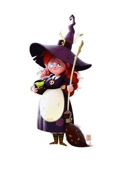 Een vriendelijke kleine heks met haar brouwseltje. Photo Halloween, Halloween Pictures, Halloween Art, Vintage Halloween, Character Concept, Character Art, Concept Art, Character Design, Denis Zilber