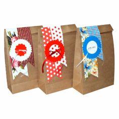 www.papelsustentavelembalagens.com.br  Saco em papel kraft tamanho 15 larg x 24 alt x 7 cm lateral decorado conforme fotos Ideal para lembrancinhas e pequenos presentes