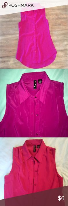 Bright Pink Silk Button Down Sleeveless Top Very bright fuchsia pink sleeveless top. Feels silky and color is most accurate in 2nd pic. *Re-Posh (I so wish this fit me!) Too tight across the chest. I would recommend for a size A/B only. It would look very cute under a blazer for work! Love Always Tops Button Down Shirts