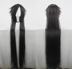 130cm Black Red Long Straight Litlle Pigtail Styled Cosplay Costume Wig.Free Shipping