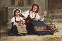 Charles Baptiste Schreiber (Paris 1845–1903) Neapolitan flower sellers