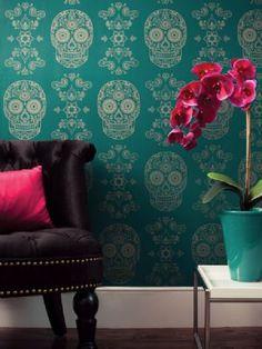 Day of the Dead Wallpaper - Emerald & Black