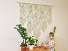 Extra large macrame wall hanging on wood 55 inches, king size tapestry, above bed art, modern macrame, mothers day gift Wall Hanging, Decor, Organic Decor, Rustic Wall Art, Decor Essentials, Woven Wall Hanging, Girls Room Decor, Bohemian Decor, Country House Decor