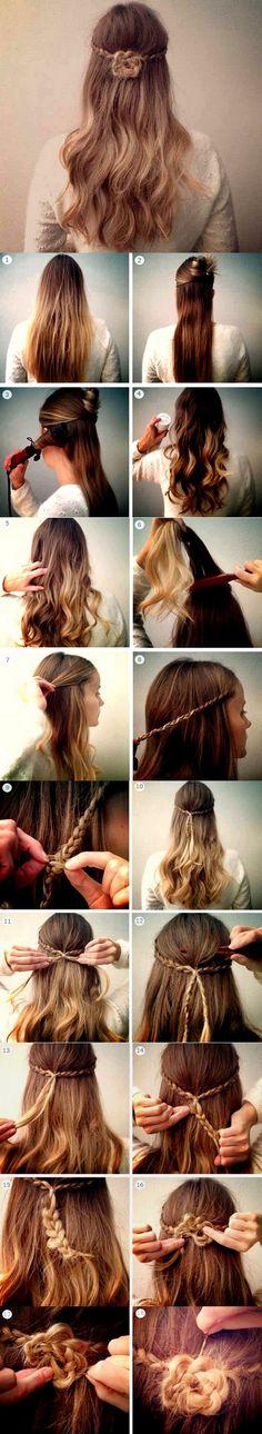 #Hairstyle - #Flower #Braid http://www.kafepauza.mk/zivot/napravete-frizura-so-cvet-od-pletenki/