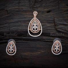 Designer Zircon Pendant Earring Set Studded With Synthetic CZ Stones #zircon #pendant #pendantset #earrings #kushalsfashionjewellery